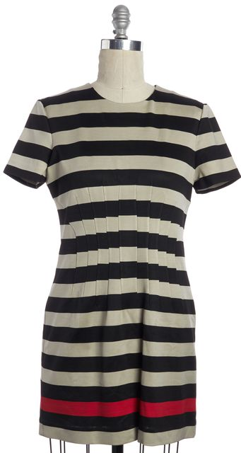 DIANE VON FURSTENBERG Black Striped Yazmine Sheath Knee Length Dress