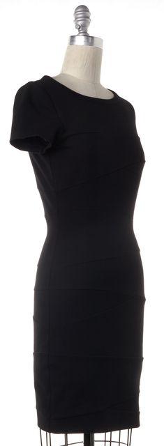 DIANE VON FURSTENBERG Black Stretch Ponte Jersey Trapp Bodycon Dress