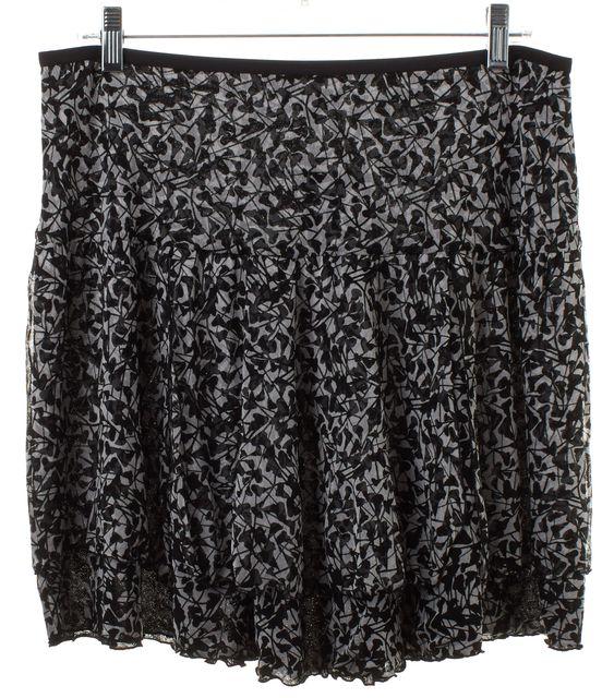 DIANE VON FURSTENBERG Black White Abstract Silk Pompei Tiered Skirt