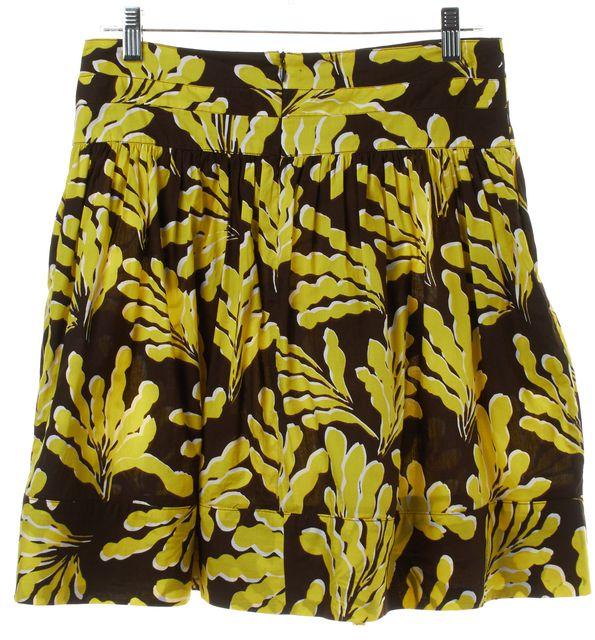 DIANE VON FURSTENBERG Yellow Brown Floral Print Pleated Skirt