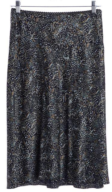 DIANE VON FURSTENBERG Black Multi Color Abstract Print Silk Flare Skirt