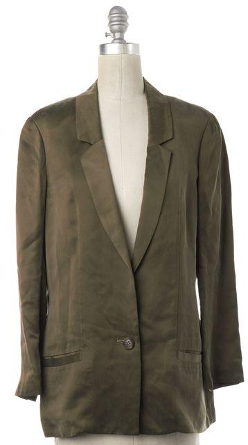 DIANE VON FURSTENBERG Olive Green Satin Single Button Blazer