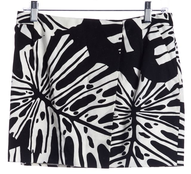 DIANE VON FURSTENBERG Black White Melissa Cotton Canvas Wrap Skirt Fits Like a 4
