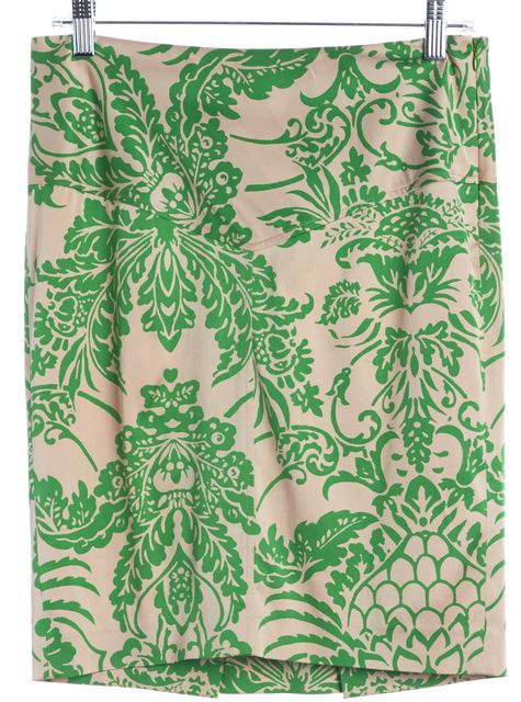 DIANE VON FURSTENBERG Green Pink Baroque Silk Straight Skirt