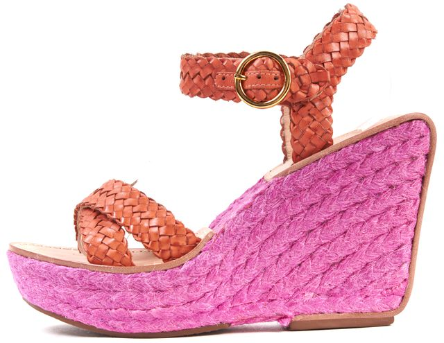 DIANE VON FURSTENBERG Orange Pink Leather Woven Espadrille Wedges Size