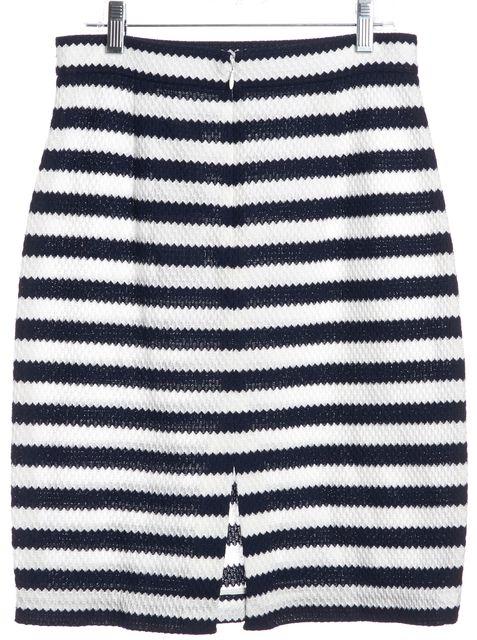 DIANE VON FURSTENBERG White Navy Blue Striped Walda Pencil Skirt