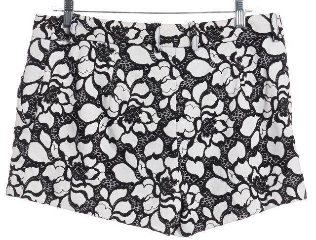 DIANE VON FURSTENBERG Black Abstract Napoli Floral Print Casual Shorts