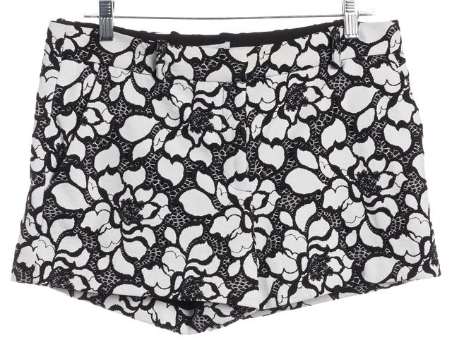 DIANE VON FURSTENBERG Black Abstract Napoli Floral Print Casual Shorts