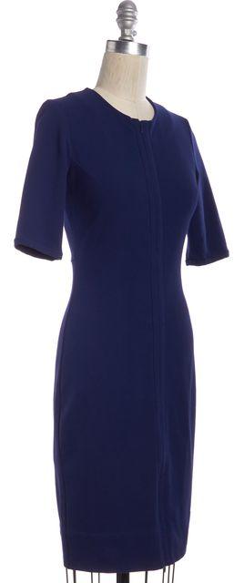 DIANE VON FURSTENBERG Navy Blue Zip Front Knee Length Pencil Dress