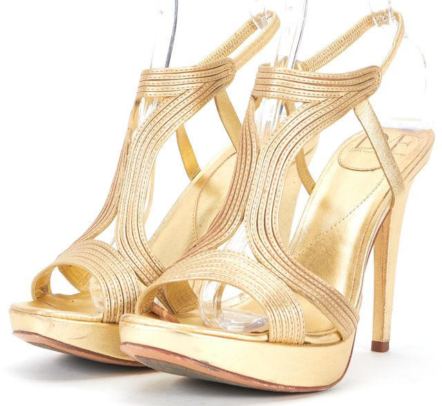 DIANE VON FURSTENBERG Gold Leather Luna Strappy Platform Sandals