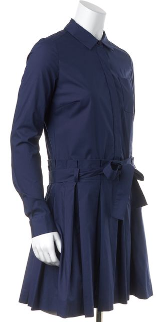 DIANE VON FURSTENBERG Blue Montana Pleated Knee-Length Shirt Dress
