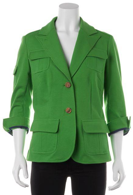 DIANE VON FURSTENBERG Cotton Lime Green Multi- Pocket Blazer Jacket
