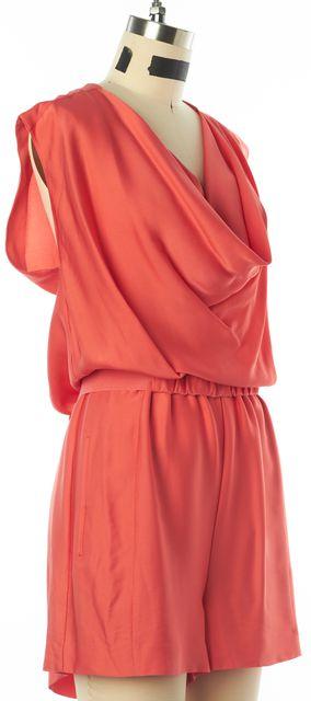 DIANE VON FURSTENBERG Neon Coral Pink Bellancia Silk Jumpsuit/ Romper