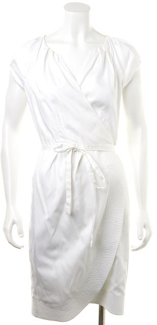 DIANE VON FURSTENBERG White Cotton Kiamo Short Sleeve Mini Wrap Dress