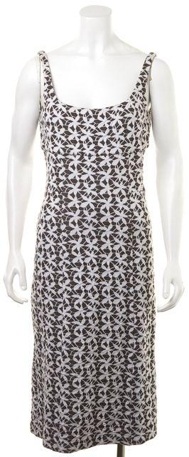 DIANE VON FURSTENBERG Brown White Floral Knee-Length Empire Waist Dress