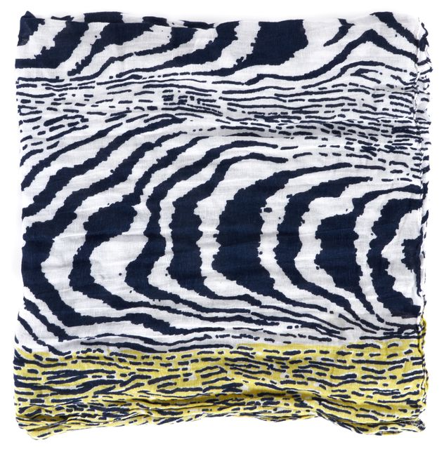 DIANE VON FURSTENBERG Blue White Yellow Abstract Security Blanket Long Scarf