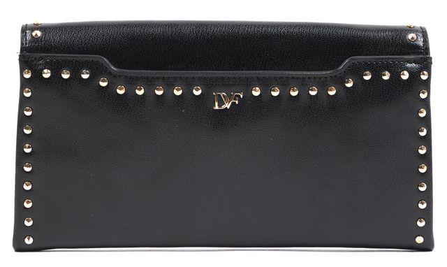DIANE VON FURSTENBERG Black Leather Gold Studded Envelope Clutch Bag