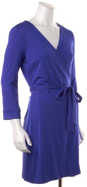 DIANE VON FURSTENBERG Blue Long Sleeve Knee-Length Wrap Dress