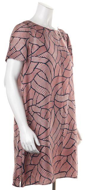 DIANE VON FURSTENBERG Blue Orange Geometric Print Silk Maggy Shift Dress