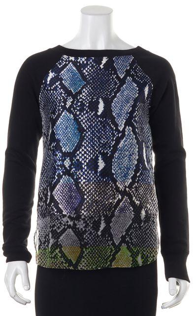 DIANE VON FURSTENBERG Black Animal Print Sweatshirt Top