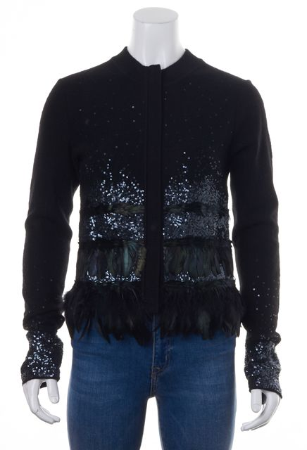 DIANE VON FURSTENBERG Black Feather Sequin Embellished Wool Sunder Cardigan