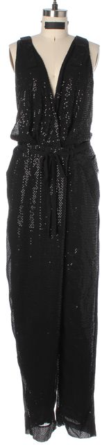 DIANE VON FURSTENBERG Black Silk Johnseen Sequined Sleeveless Wrap Jumpsuit