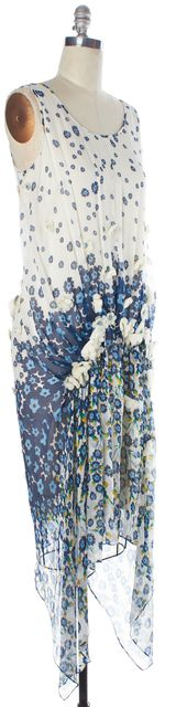 DIANE VON FURSTENBERG White Blue Asymmetrical Hem Marisong Dress