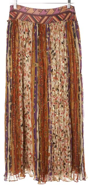 DIANE VON FURSTENBERG Multi-Color Metallic Floral Silk Parisa Maxi Skirt