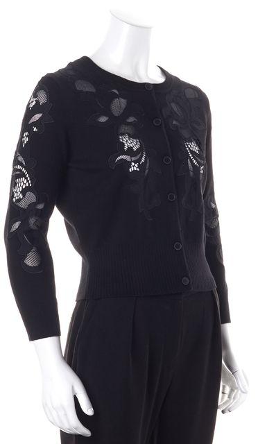 DIANE VON FURSTENBERG Black Floral Lace Merino Wool Cooper Cardigan