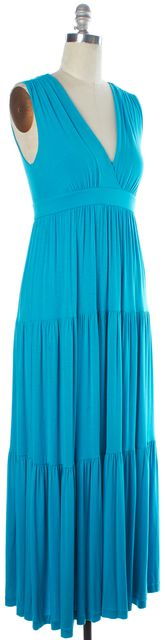DIANE VON FURSTENBERG Blue Empire Waist Long Sleeveless Maxi Dress