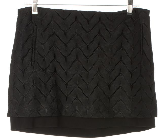 DIANE VON FURSTENBERG Black Elley Wave Lace Pocket Front Straight Skirt