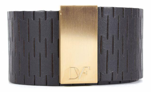 DIANE VON FURSTENBERG Black Laser Cut Leather Gold Hardware Wide Belt