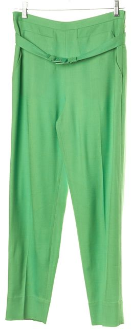 DIANE VON FURSTENBERG Green Georgialy Skinny Ankle Belted Trousers Pants