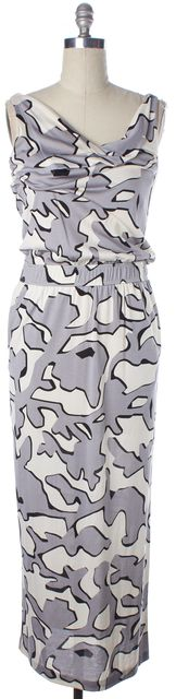 DIANE VON FURSTENBERG Gray Ivory Abstract Silk Lou Lou Maxi Dress