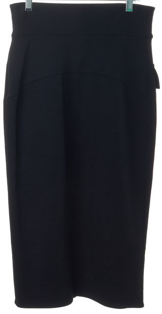 DIANE VON FURSTENBERG Black Wool Marple Pocket Front Straight Skirt