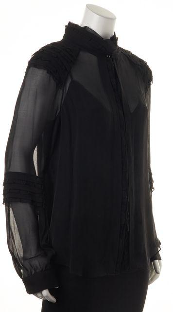 DIANE VON FURSTENBERG Black Silk Pintura Semi Sheer Ruffled Blouse