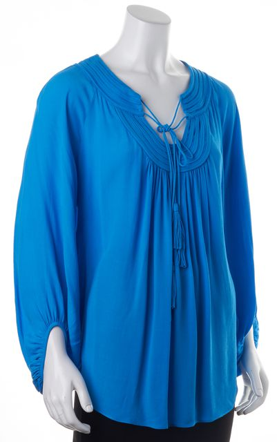 DIANE VON FURSTENBERG Blue Acquilina Lace-Up Long Sleeve Blouse