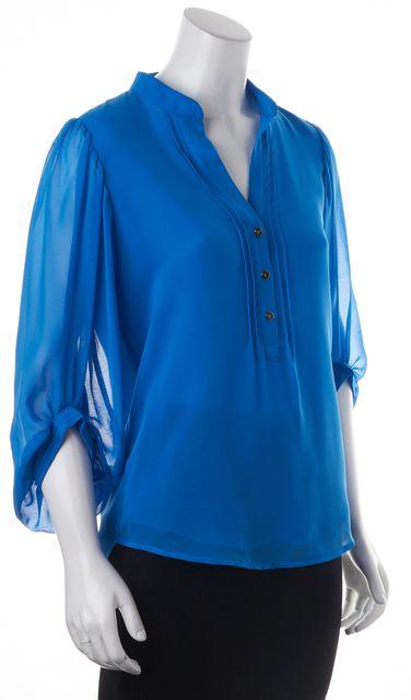 DIANE VON FURSTENBERG Blue Syrah Silk Blouse Top