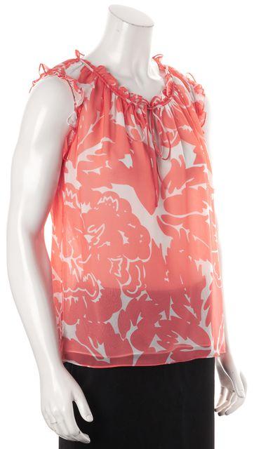 DIANE VON FURSTENBERG Coral Pink Giant Floral Silk DVF Rebekah Top