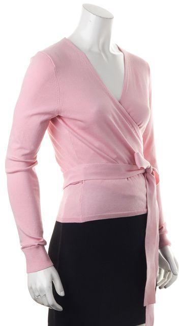 DIANE VON FURSTENBERG Pink Ice Silk Ballerina Wrap Top