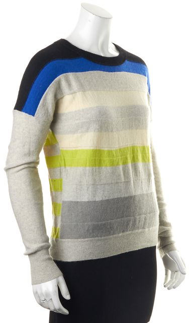DIANE VON FURSTENBERG Gray Blue Striped Cashmere Shell Crewneck Sweater