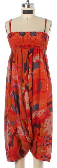 DIANE VON FURSTENBERG Orange Blue Pink Abstract Silk Kali Romper