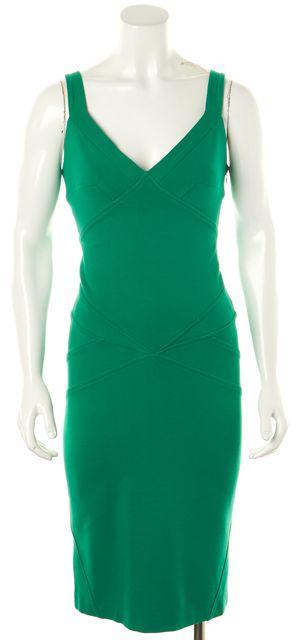 DIANE VON FURSTENBERG Green V-Neck Benny Knee-Length Sheath Dress