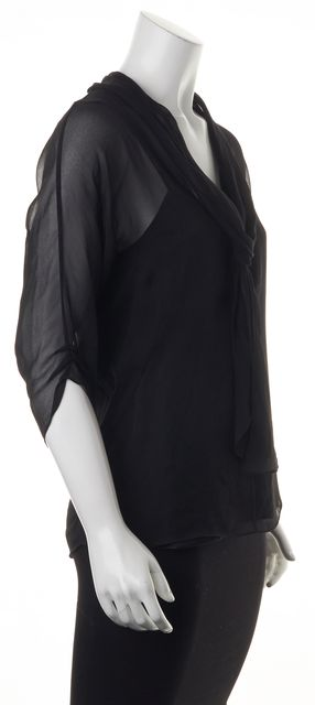 DIANE VON FURSTENBERG Black 100% Silk 3/4 Sleeve Blouse Top
