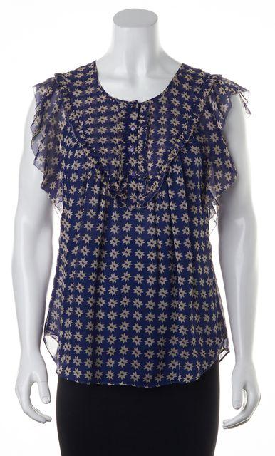 DIANE VON FURSTENBERG Blue Stars Abstract 100% Silk Button Down Shirt Top