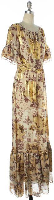 DIANE VON FURSTENBERG Metallic Gold Purple Floral Silk Jane Maxi Dress