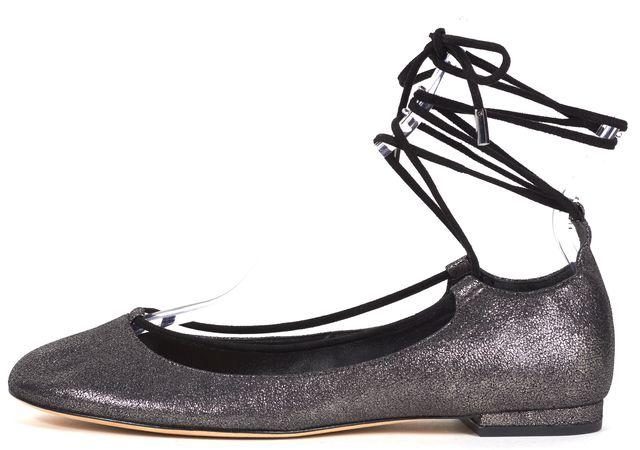 DIANE VON FURSTENBERG Metallic Gray Pebbled Leather Lace-Up Ballet Flats