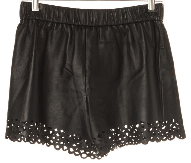 DIANE VON FURSTENBERG Black 100% Leather Casual Shorts