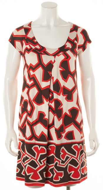 DIANE VON FURSTENBERG Red Black White Geometric Silk Ayuka Shift Dress
