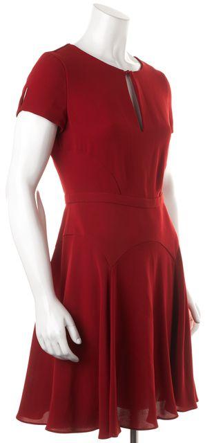 DIANE VON FURSTENBERG Red Raizel Cap Sleeve Keyhole Neck Fit & Flare Dress